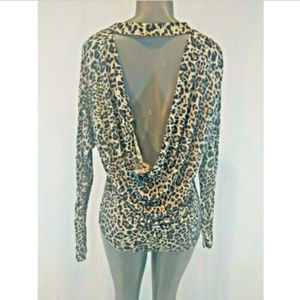 Express Leopard Animal Print Blouse Long Sleeve